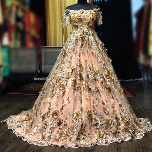 3D flowers embroidery gown with train