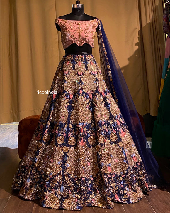 Blue and Pink Bridal lehenga with zardosi and Swarovski work