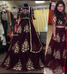 Wine embroidered Lehenga with attached dupatta