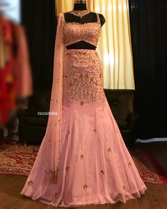 Pink mermaid cut Lehenga with tassel dupatta