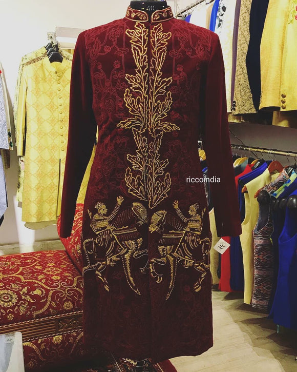 Maroon velvet sherwani with Baraat embroidery