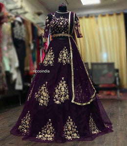 Violet dori work Lehenga with attached dupatta