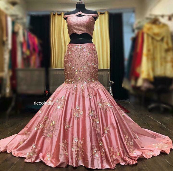 Off shoulder pink crystal work mermaid cut train Lehenga