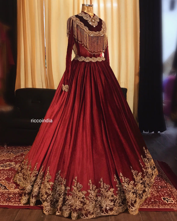 Maroon suede ball gown
