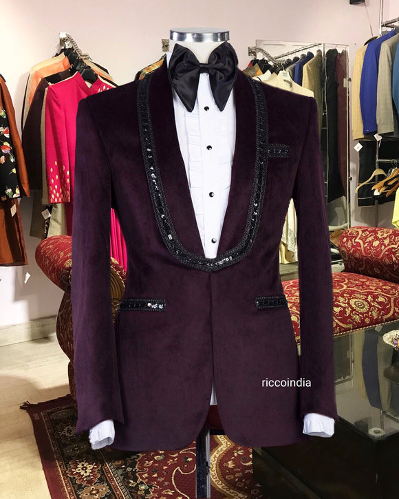 Wine tuxedo with sequin work lapel