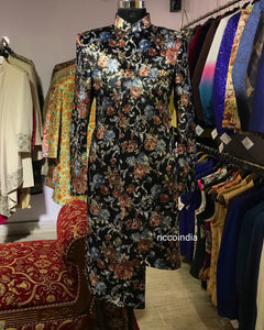 Black velvet indowestern sherwani with floral print and gold foiling