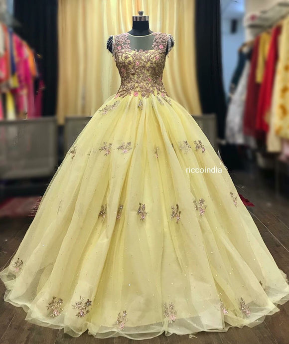 Lemon ball gown with crystal sleeves