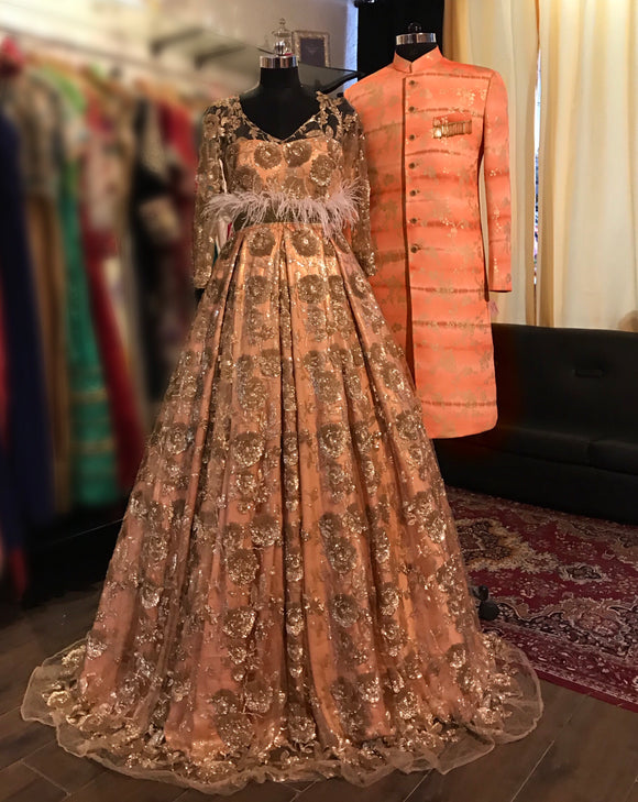 Peach heavy work gown and peach tie-dye sherwani