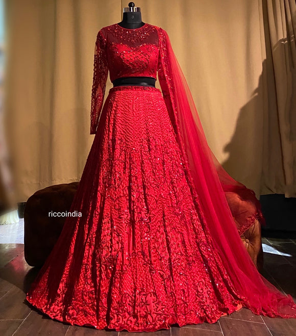 Red lehenga with glass beads embroidery