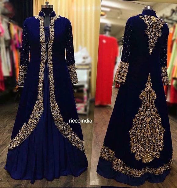 Blue velvet jacket Lehenga with intricate hand work