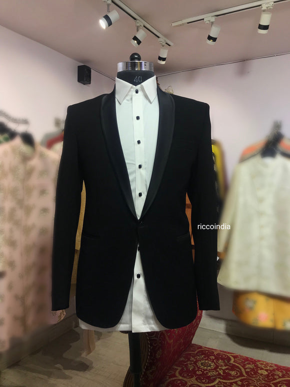 High grade Italian suiting tuxedo with Swarovski button shirt