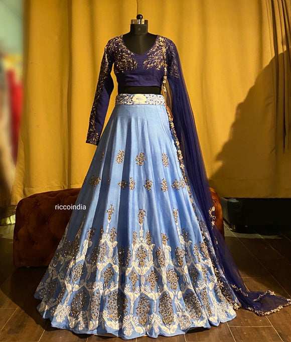 Two tone Blue lehenga with Resham and stone work