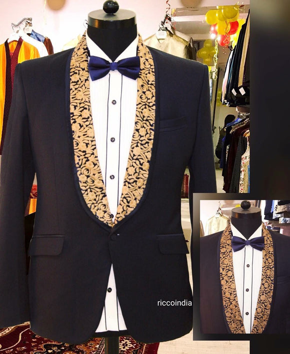 Black tuxedo with embroidered lapel