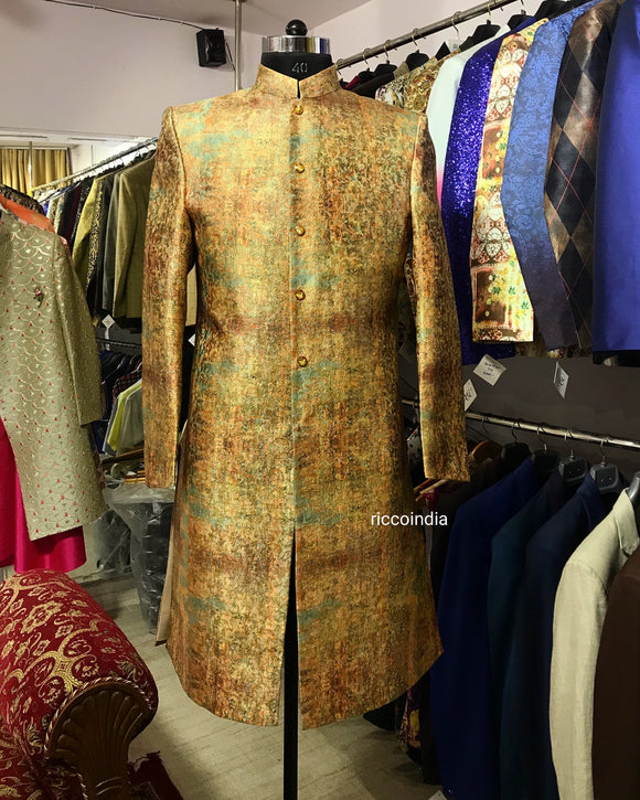 Multicolour brocade sherwani with gold crystal buttons