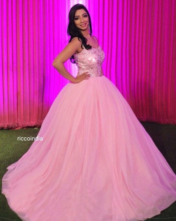 Baby pink ball gown with Swarovski and crystal beading bodice