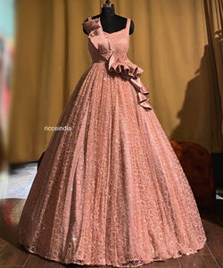 Rose gold structured ball gown