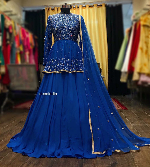 Blue mirrorwork and sequin work peplum Lehenga