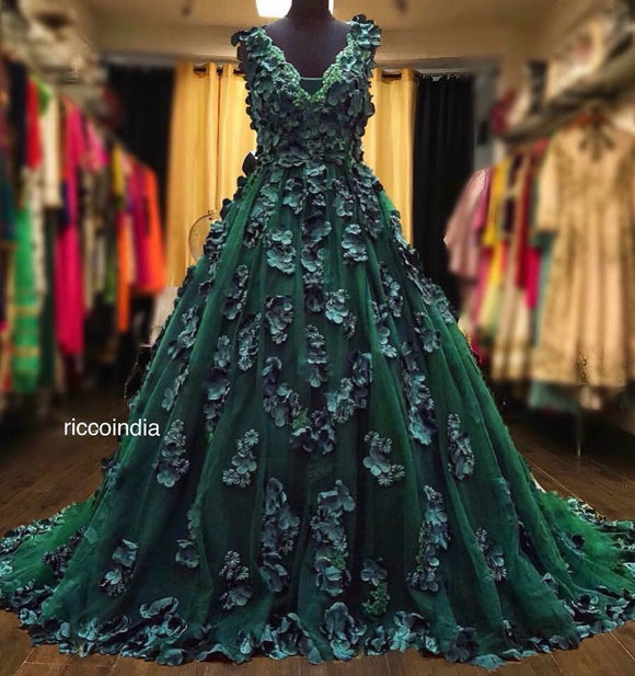Hand made flowers 3D embroidery cocktail gown