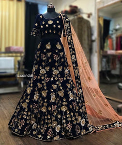 Blue velvet Lehenga with delicate hand work