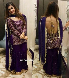 Sequin work backless dori kurta with sharara pants
