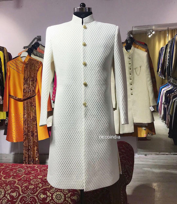 3D Textured white sherwani