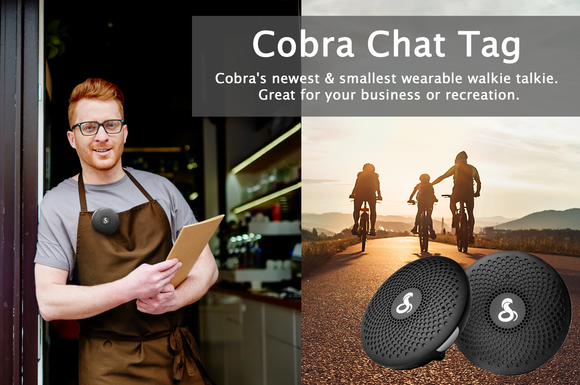 cobra chat tag. Wearable walkie talkie for business or recreation