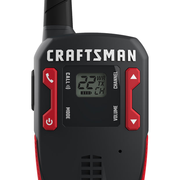 Craftsman CMXZRAZF118 16-Mile Anti-Slip Two-Way Radio/Walkie Talkie Red/Black