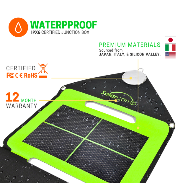 Solar Camp – Solympic Hue – Portable, Waterproof, Flexible Folding Solar Charger with CIGS Solar Panels – 7.6W Dual USB Charging Ports – for Quickly Charging Electronic Devices (Green)