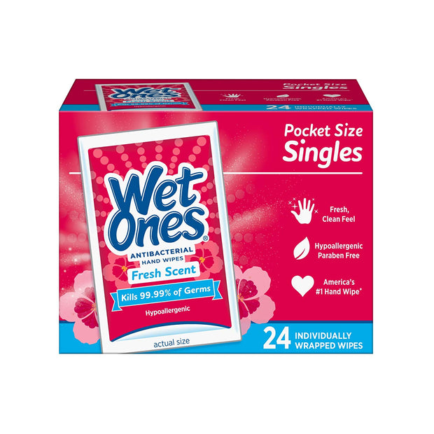 Wet Ones Antibacterial Hand Wipes, Fresh Scent, 24 Individually Wrapped Wipes (Pack of 6)