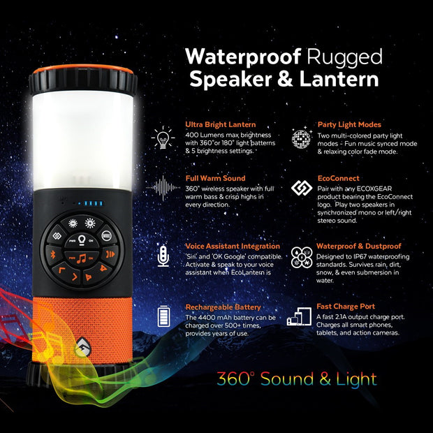 ECOXGEAR EcoLantern Waterproof LED Lantern + Bluetooth Speaker & Power Bank