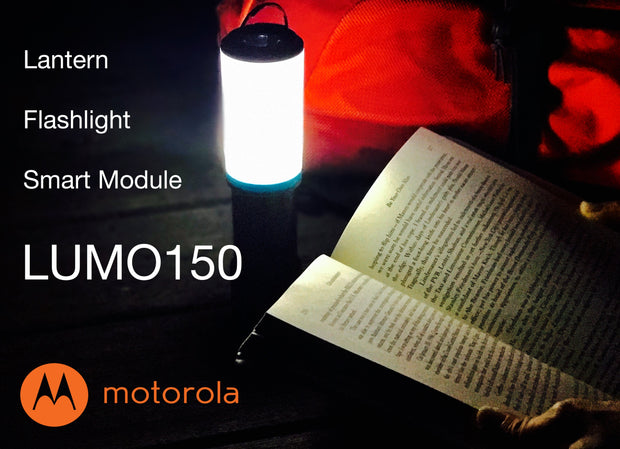 Motorola MSLB150 Outdoor 180-Lumen Rechargeable IPX4 Water Resistant LED Flashlight + LUMO Lantern Combo with Bluetooth Speaker