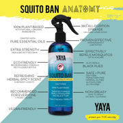 YaYa Organics SQUITO BAN All-Natural Mosquito Repellent 16 oz