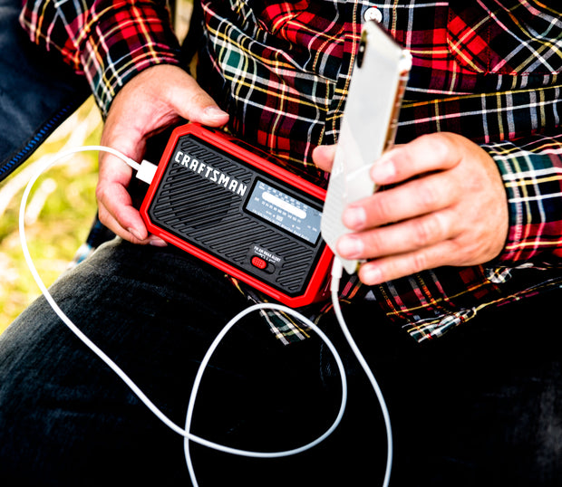 Craftsman CMXZRAZW822 AM/FM Solar Rechargeable Power Bank & Weather Radio with LED Flashlight, Red/Black