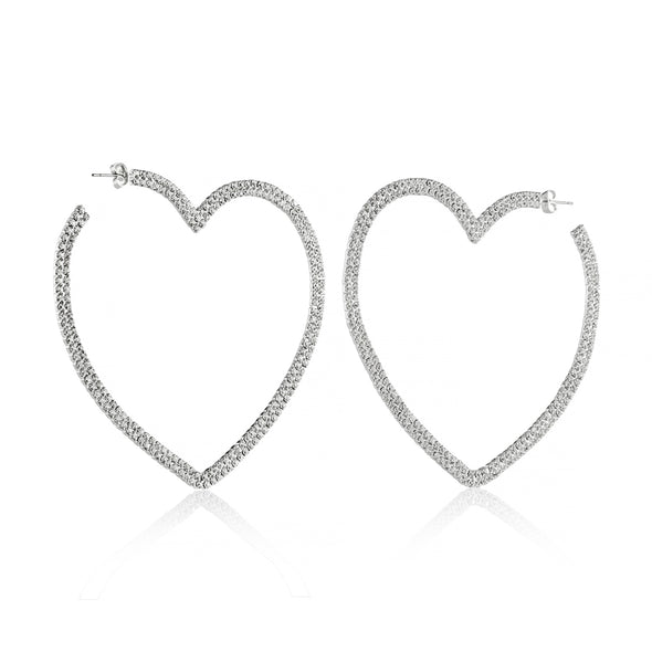 Rhinestone Heart Hoops