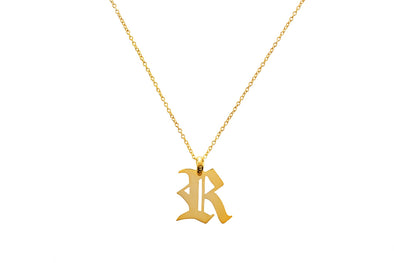 Personalised Gothic Initial Necklace