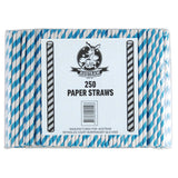 Eco Paper Straw - Regular Blue/White