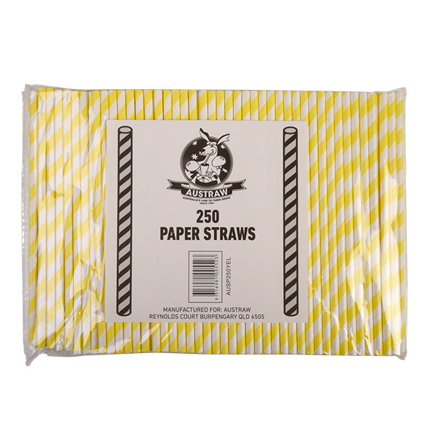 Eco Paper Straw - Regular Yellow/White