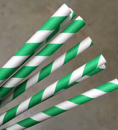 Eco Paper Straw - Regular Green/White