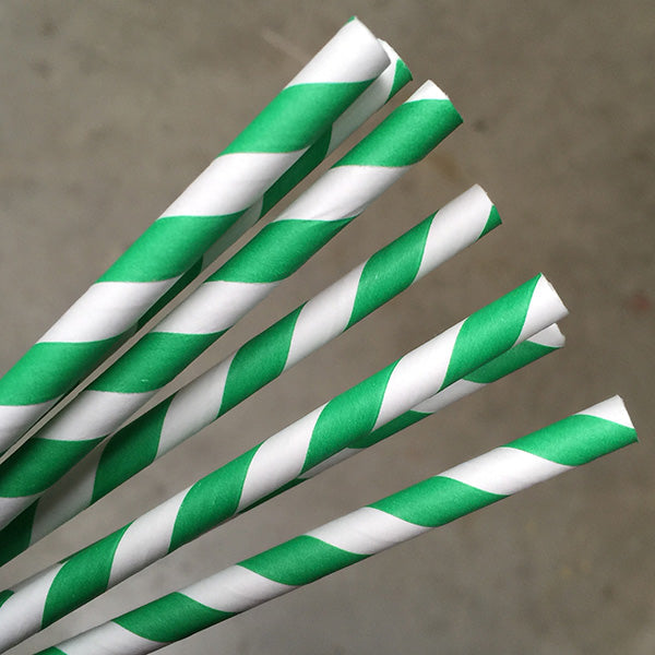 Eco Paper Straw - Jumbo Green/White