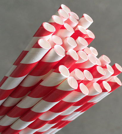 Eco Paper Straw - Jumbo Red/White