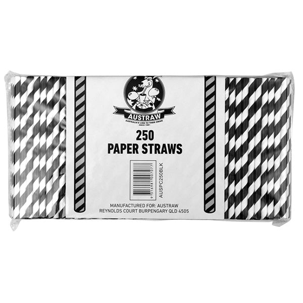 Eco Paper Straw - Cocktail Black/White