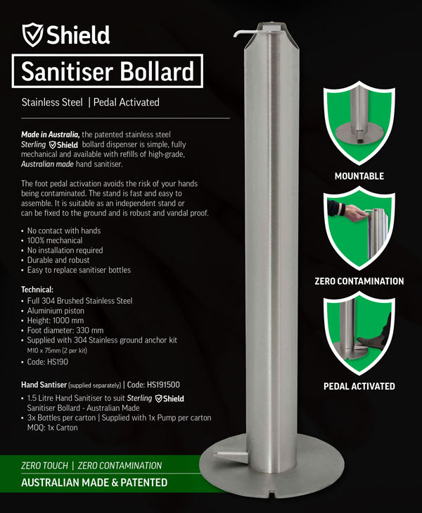 Shield Sanitiser Bollard