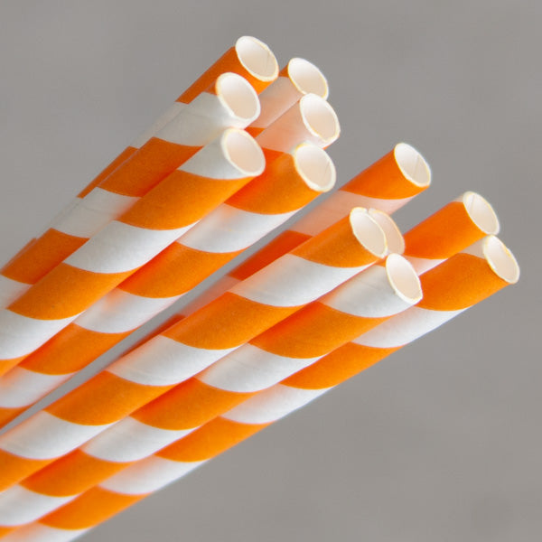 Eco Paper Straw - Jumbo Orange/White