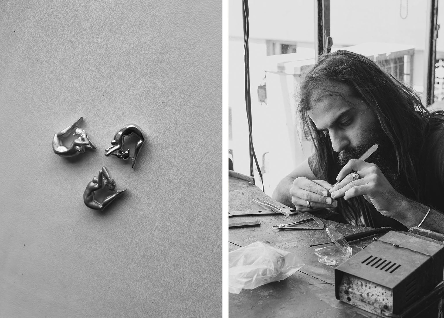 A photograph of a talented craftsman hand finishing jewellery in the workshop
