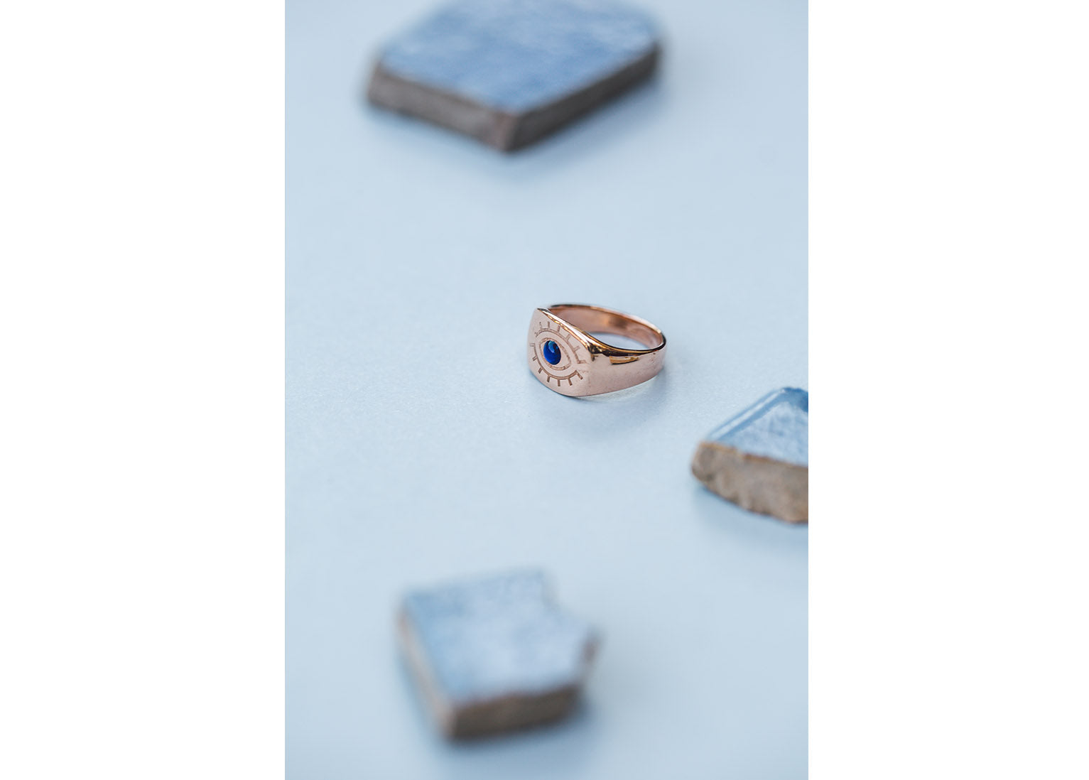 An evil eye rose gold signet ring designed by independent designers Lucky culture, this ring is made from sterling silver and finished in rose gold.