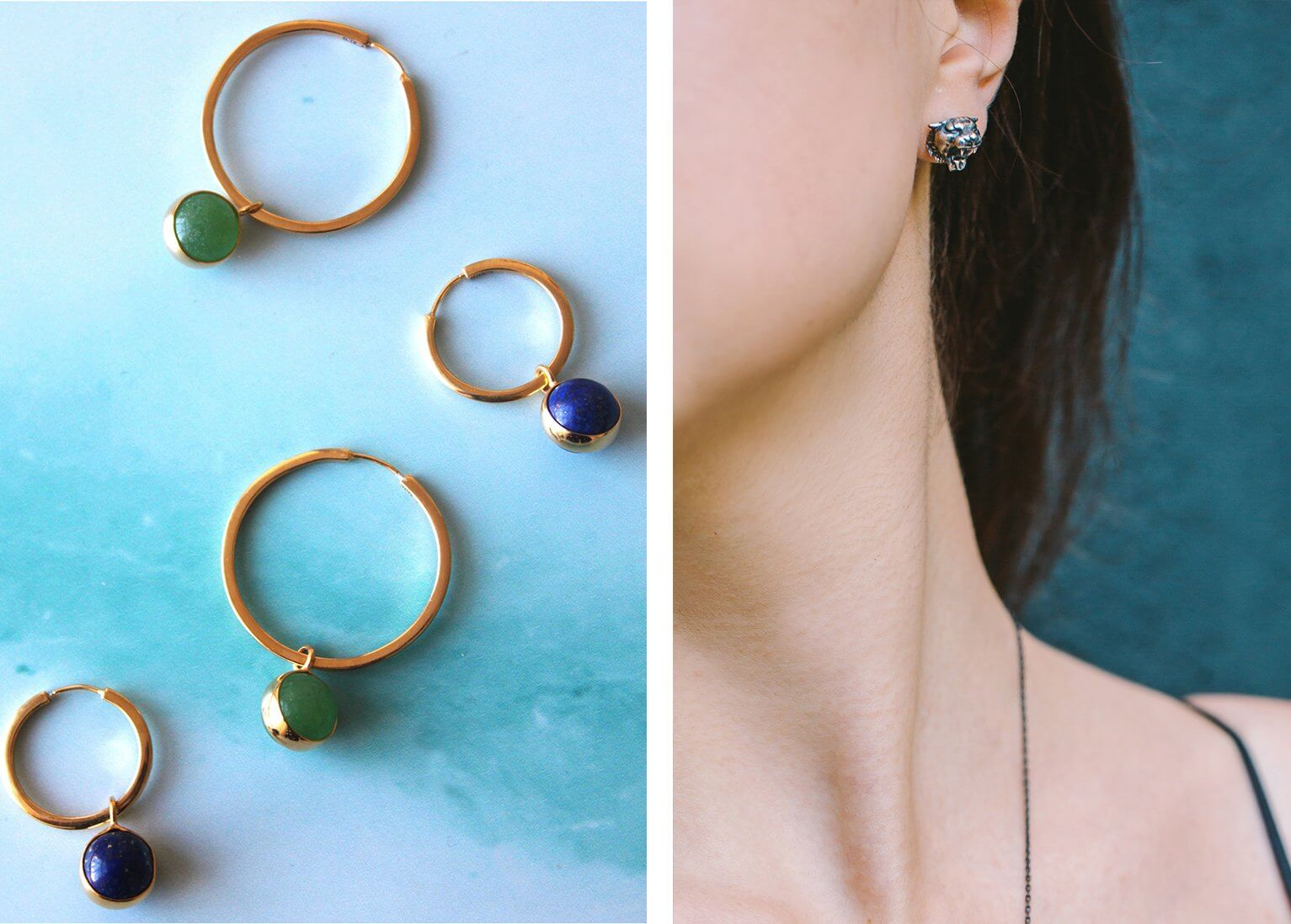 Unique lapis hoops, an elegant jewellery piece, designed by independent designer Yuka, made from sterling silver and finished in gold. Bold tiger earrings, a hand-finished statement jewellery piece, by designer Kate, made oxidized silver.