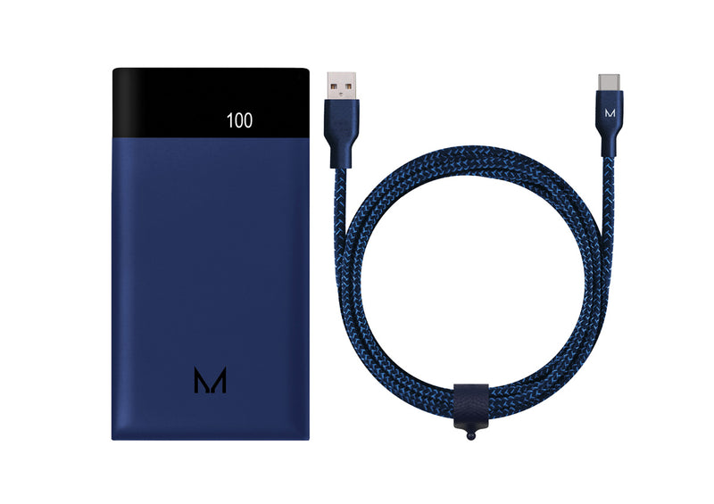 Midnight Blue 5,000mAh Power bank + Cable bundle
