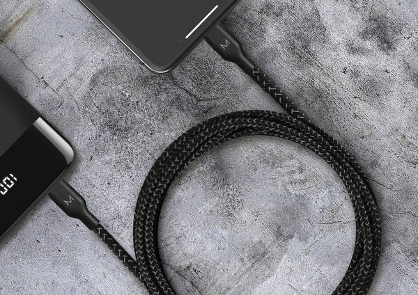 Cord+ | 3 Metre USB-A to Lightning Nylon Cable - Raven Black