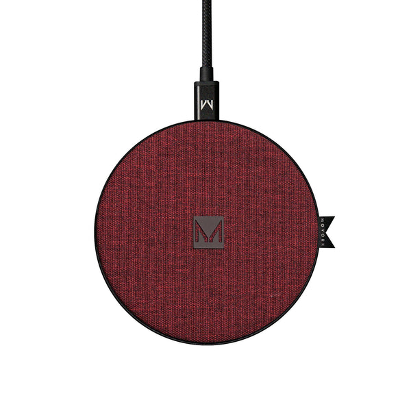 watt | 10W QI Fast Wireless Charging Pad Merlot Red Fabric - MOYORK CO