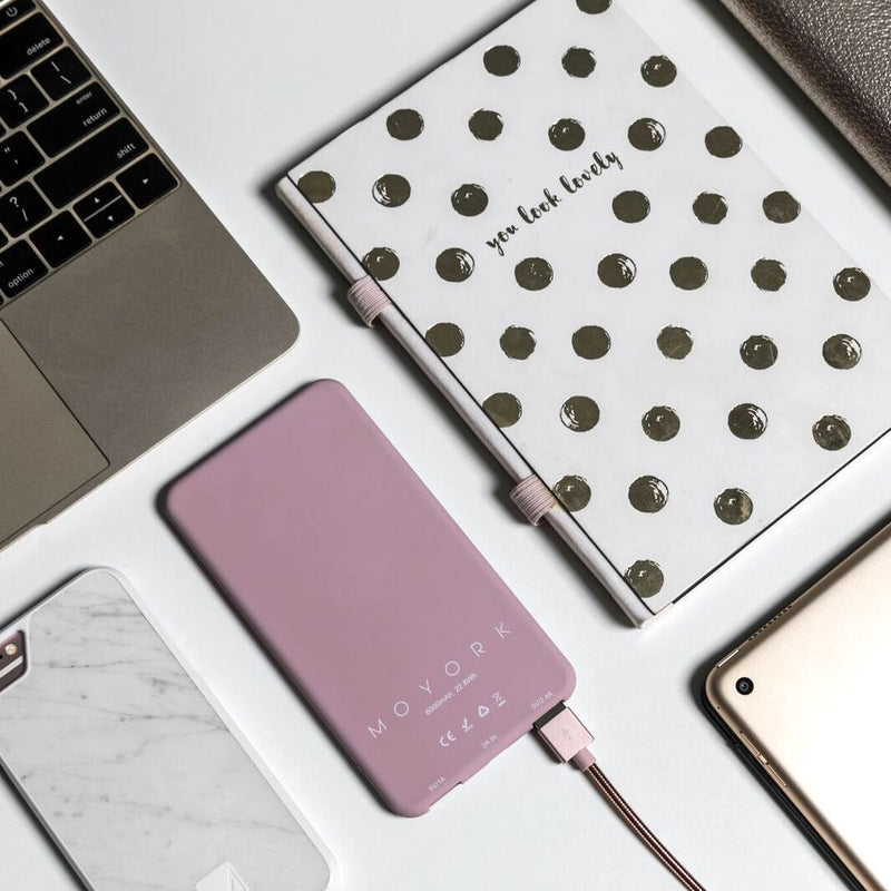 watt | 6000mAh power bank</br>swan white | blush pink - MOYORK CO